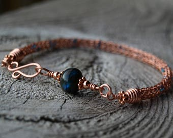 Copper Labradorite Viking Knit Bracelet