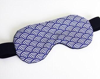 Sleeping mask, sleep - blue Japanese pattern (hide-eyes, rest, sleep, NAP)