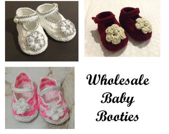 In Bulk Crochet Baby Booties, Wholesale Baby Girl Booties, Baby Shower Gift, Baby Shoes, Bébé crochet bottillons, Crochet mary janes
