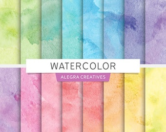 Watercolor digital paper, seamless water color background, brush strokes, ink, paint, rainbow colors, scrapbook papers (Instant Download)
