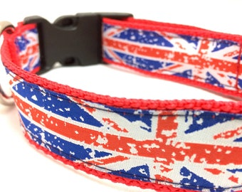 Union Jack Dog Collar | Union Jack Leash | Union Jack Step In Harness | Personalized Dog Collar | British Flag Dog Collar | Flag Collar