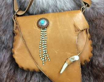 Golden Wheat Leather Hobo Purse with Feathers