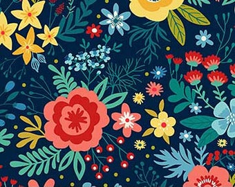 QUILTING COTTON FABRIC Northcott Navy Chloe Floral. Sold by the 1/2 yard