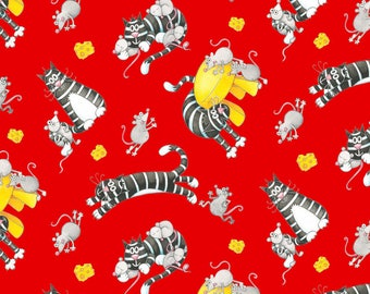 Bedtime Rhymes Cats & Mice Red For Henry Glass, Cat Lady Cat Lover Fabric