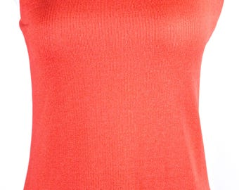 Bright Orange Knit Sleeveless Top made by Hitch Hiker