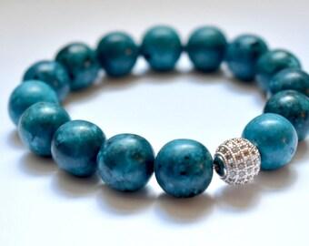 Gemstone Stretch Bracelet with Pave Accent Bead, Stretch Bracelet, Gemstone bracelet