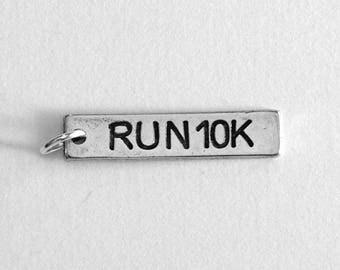 Running Jewelry, RUN 10K Running Charm