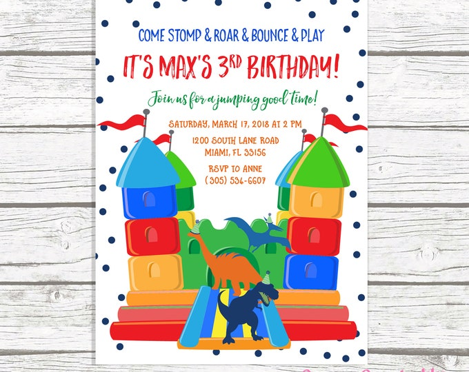 Dinosaur Bounce House Birthday Invitation, Dinosaur Invitation, Bounce House Invitation, Jump Party Invitation, Bounce House Invite