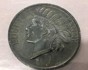 Oversized lucky penny souvenir from Joliet Illinois
