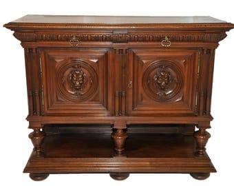 Antique Henry II French Renaissance Server, Walnut, 19th Century #8322