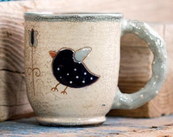 Blue birds in love mug, Rustic handpainted Mug, Handmade ceramic mug, Tea or coffee pottery