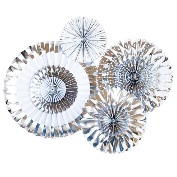 Il_570xn  sc 1 st  Catch My Party & Silver Party Paper Pinwheel Fans | Metallic Silver Foil Paper ...
