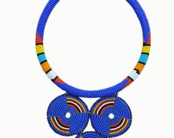 African Maasai Necklace, handmade necklace, blue bead pendant