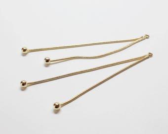 P0703-1/Anti-Tarnished Gold Plating Over Brass /Dangle Ball Chain Pendant long/75mm,3.5mm balls/2pcs