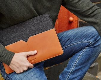 """NEW 15"""" MacBook Pro Retina - Black Edition Leather Sleeve Case and Wool Felt Laptop Cover Handmade"""