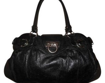 FREE SHIPPING! Vintage Salvatore FERRAGAMO 18 x 12 x 3 Black Gancini Shoulder Bag Italy