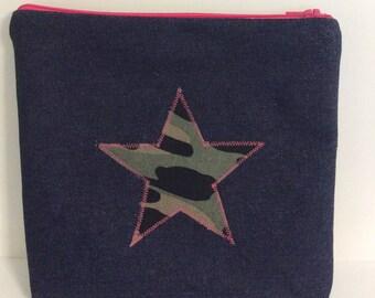 Camoflauge star makeup purse, camo and bright pink zip purse, star wash bag,Denim  wash bag,makeup bag,pencil case, camo  star denim zip bag