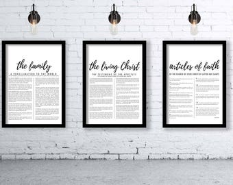 LDS Trio - Family Proclamation, The Living Christ, & Articles of Faith (4 Different Styles)