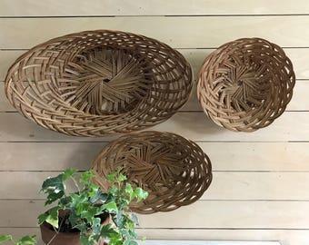 Wall Hanging Basket vintage hanging basket rattan wall basket woven basket