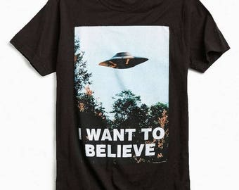 """Summer Sale X - Files """"I Want to Believe"""" Shirt Mulders Office Black"""