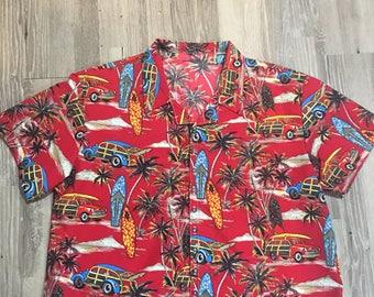 Men's Hawaiian Shirt Red Surf boards