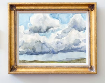 Original Watercolor Painting Cloudy Landscape