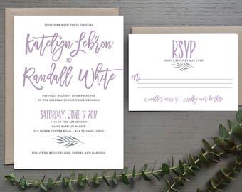 Lilac Dover Wedding Invitation