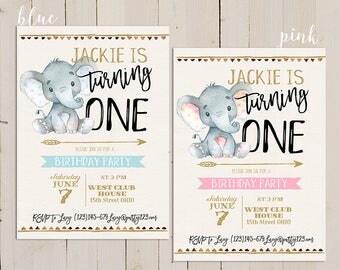 Elephant Birthday Invitation, 1st Birthday Invitation boy, Elephant Birthday printable Invitation, 1st Birthday Invitation for girl, DIY
