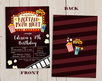 Kid's movie birthday party invitation, movie night birthday invitation, Backyard movie night invitation, Outdoor Movie Night Invitation