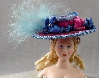 1-12 scale Silk Hat violet rose blue trims OOAK dollhouse miniature Victorian Modern doll