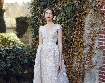 Bridal gown VELARI, wedding dress, unique wedding gown, lace wedding, simple wedding dress, bride dress, lace gown, boho wedding dress