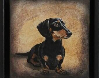 dachshund art, dachshund lover's gift, dachshund, black and tan dachshund, cute dachshund,