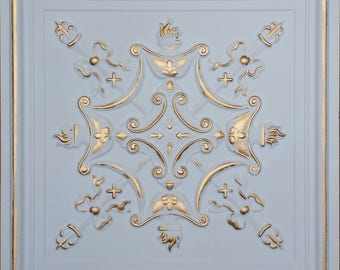 ceiling tiles faux finished white gold color PL07