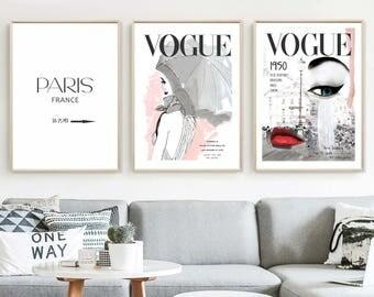Set Of 3 Vogue Posters Fashion Wall Art Home Decor Vogues Prints