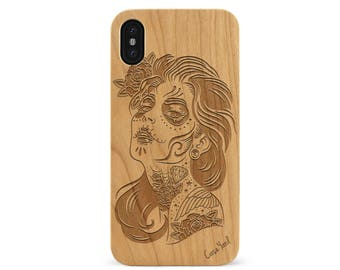 iPhone X Case Sucra Donna Wood case iPhone X engraved iPhone X wood case iPhone wood case iPhone Ten custom case iPhone X protective case