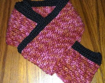 Red pink orange multicolored crochet scarf