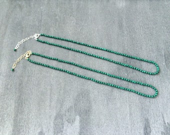 Semi Knotted Natural Malachite 3MM Round Beaded Necklace