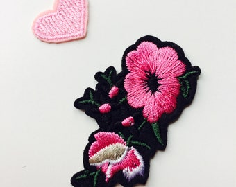 Pink | Flower | Heart | Patch | Cute | Hipster | Trendy | Emo | DIY | Fashion | Retro