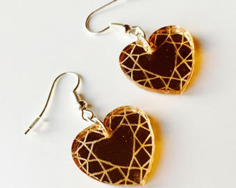 Heart | Geometric | Gem | Love | Kawaii | Laser Cut | Acrylic | Earrings