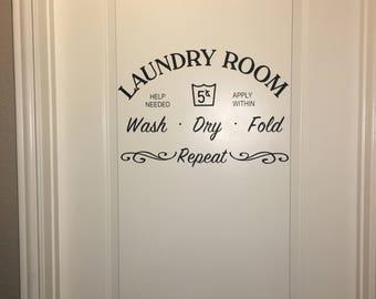 Laundry Room Vinyl Door / Wall Decal