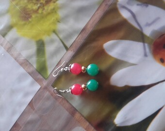 Handmade pierced earrings handmade jade bead