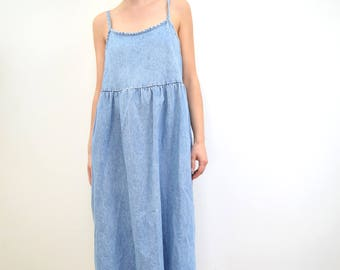 Vintage Denim Midi Dress M/L >> blue sleeveless cotton oversized minimalist tank jumper