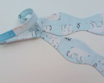 Polar Bear Penguin Winter Holiday Christmas Self Tie Bow Tie Adjustable Ice Blue and White with Sparkles