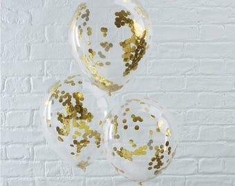 Gold Confetti Balloons - Princess party balloons - Wedding Balloons - Wedding Decoration - Bachelorette Party - Bridal Shower - NK0214
