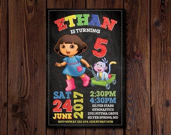 Dora the Explorer Invitation, Dora the Explorer Birthday, Dora the Explorer Invites, Dora the Explorer Party, Printable, Custom, Evite, Card