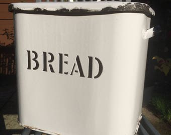"""Antique Black and White Enamel Bread Bin, Lidded Bread Box, Circa 1920's, Rusty Patches Lid & Base, Fabulous Vintage 11.75"""""""