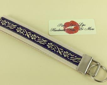 Flowers webbing key fob short wristlet key ring lanyard wedding favour handmade in England