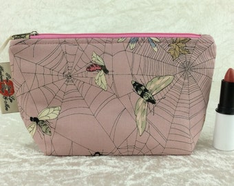 Ghastlie Web Moth gothic Zip Case Bag Pouch fabric Alexander Henry Handmade in England's