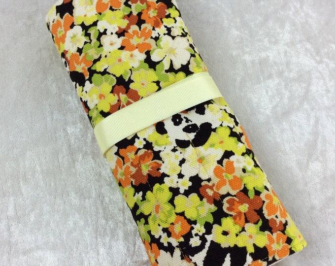 Pandas in the flowers Makeup Pen Pencil Roll Crochet Knitting needles tool holder case  Handmade in England