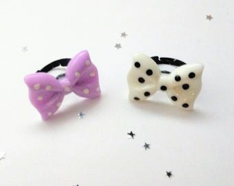 Cute Pastel Goth Polka Dot Bow Rings - Creepy Cute Jewelry - Kawaii Gothic Lolita Accessories - Gift for Her - Dainty Jewelry Cute Kitsch